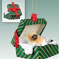 Lhasa Apso Brown w/Sport Cut Gift Box Green Ornament