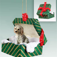 Labradoodle Cream Gift Box Green Ornament