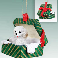Cockapoo White Gift Box Green Ornament