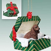 Cocker Spaniel Brown Gift Box Green Ornament