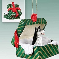 Husky Black & White w/Brown Eyes Gift Box Green Ornament
