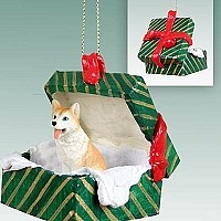 Husky Red & White w/Blue Eyes Gift Box Green Ornament