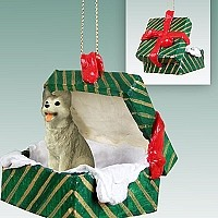 Husky Gray & White w/Brown Eyes Gift Box Green Ornament