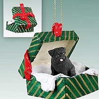 Pug Black Gift Box Green Ornament