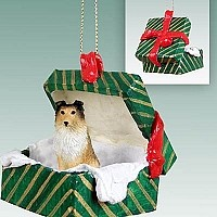 Sheltie Sable Gift Box Green Ornament