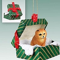 Chow Red Gift Box Green Ornament