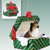 Collie Sable Gift Box Green Ornament