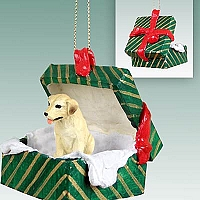 Labrador Retriever Yellow Gift Box Green Ornament