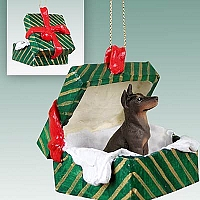 Doberman Pinscher Red w/Cropped Gift Box Green Ornament