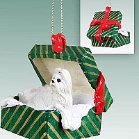 Shih Tzu White Gift Box Green Ornament