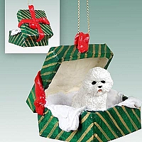 Bichon Frise Gift Box Green Ornament