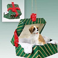 Saint Bernard w/Rough Coat Gift Box Green Ornament