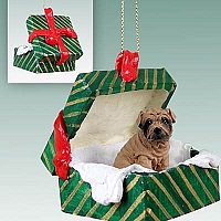 Shar Pei Brown Gift Box Green Ornament