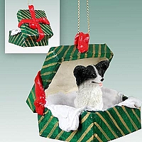 Papillon Black & White Gift Box Green Ornament