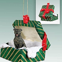 Staffordshire Bull Terrier Brindle Gift Box Green Ornament