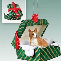 Welsh Corgi Pembroke Gift Box Green Ornament