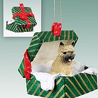 Cairn Terrier Red Gift Box Green Ornament