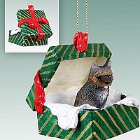 Cairn Terrier Brindle Gift Box Green Ornament