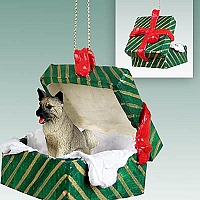Akita Gray Gift Box Green Ornament