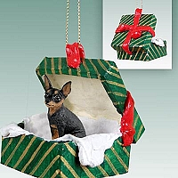 Miniature Pinscher Tan & Black Gift Box Green Ornament