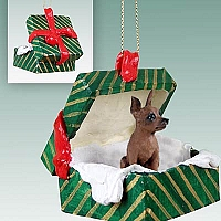 Miniature Pinscher Red & Brown Gift Box Green Ornament