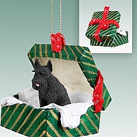 Schnauzer Giant Black Gift Box Green Ornament