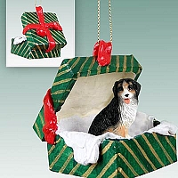Bernese Mountain Dog Gift Box Green Ornament