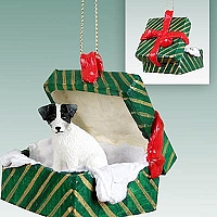 Jack Russell Terrier Black & White w/Rough Coat Gift Box Green Ornament
