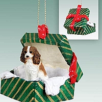 Cavalier King Charles Spaniel Brown & White Gift Box Green Ornament