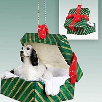 English Setter Belton Blue Gift Box Green Ornament