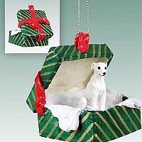 Whippet White Gift Box Green Ornament