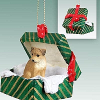 Border Terrier Gift Box Green Ornament