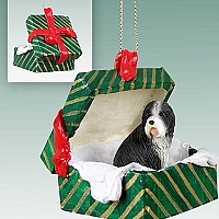 Bearded Collie Gift Box Green Ornament
