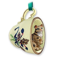 Brown Shorthaired Tabby Cat Tea Cup Green Holiday Ornament