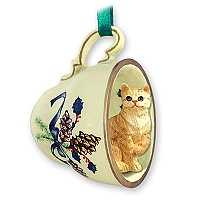 Red Shorthaired Tabby Cat Tea Cup Green Holiday Ornament