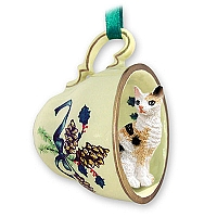Tortoise & White Cornish Rex Tea Cup Green Holiday Ornament