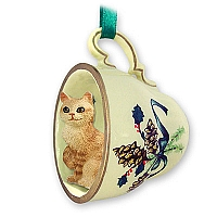 Red Tabby Manx Tea Cup Green Holiday Ornament