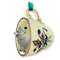 Poodle Gray Tea Cup Green Holiday Ornament