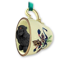 Poodle Black Tea Cup Green Holiday Ornament