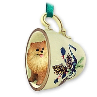 Pomeranian Red Tea Cup Green Holiday Ornament