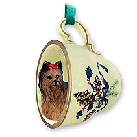 Yorkshire Terrier Tea Cup Green Holiday Ornament