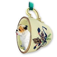 Bulldog White Tea Cup Green Holiday Ornament