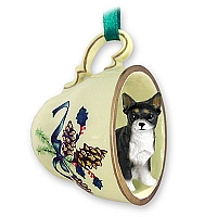 Chihuahua Black & White Tea Cup Green Holiday Ornament