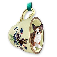 Chihuahua Brindle & White Tea Cup Green Holiday Ornament