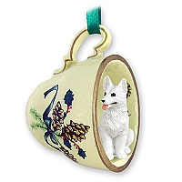 German Shepherd White Tea Cup Green Holiday Ornament