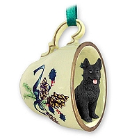 German Shepherd Black Tea Cup Green Holiday Ornament