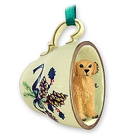 Golden Retriever Tea Cup Green Holiday Ornament