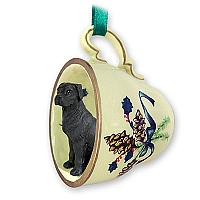 Great Dane Black w/Uncropped Ears Tea Cup Green Holiday Ornament