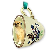 Great Dane Fawn w/Uncropped Ears Tea Cup Green Holiday Ornament