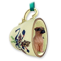 Boxer Tawny w/Uncropped Ears Tea Cup Green Holiday Ornament